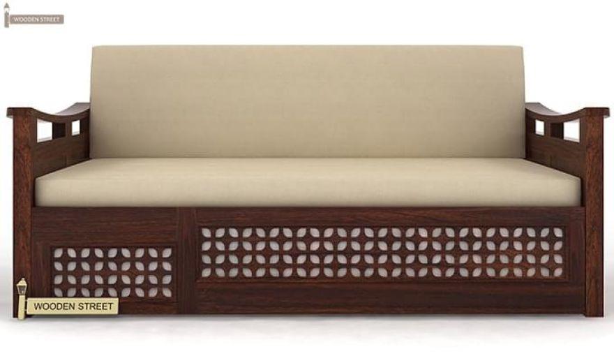 Treviso Sofa Cum Bed (Queen Size, Walnut Finish)-4