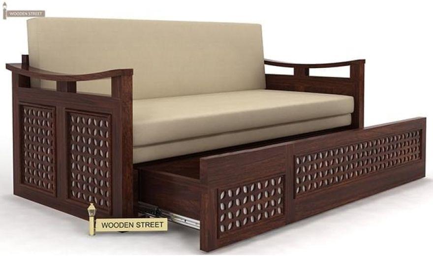 Treviso Sofa Cum Bed (Queen Size, Walnut Finish)-5