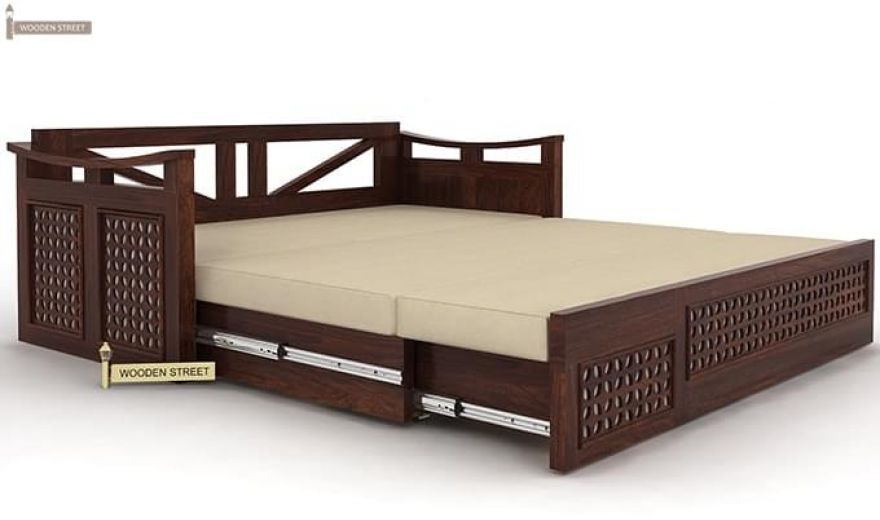 Treviso Sofa Cum Bed (Queen Size, Walnut Finish)-6