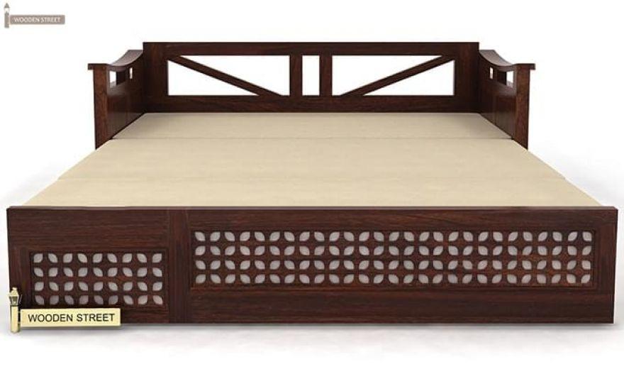 Treviso Sofa Cum Bed (Queen Size, Walnut Finish)-7