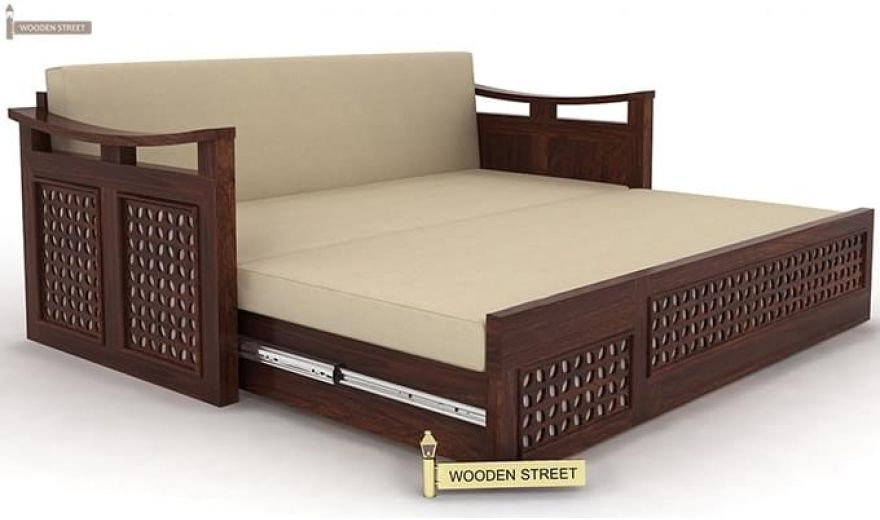 Treviso Sofa Cum Bed (Queen Size, Walnut Finish)-8