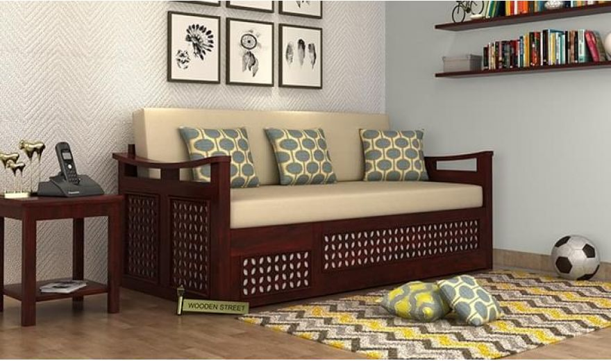 Treviso Sofa Cum Bed (Queen Size, Walnut Finish)-1