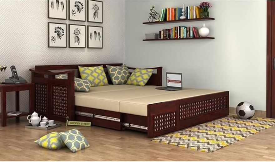 Treviso Sofa Cum Bed (Queen Size, Walnut Finish)-2