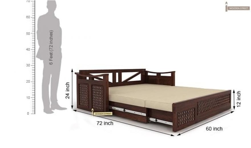 Treviso Sofa Cum Bed (Queen Size, Walnut Finish)-10