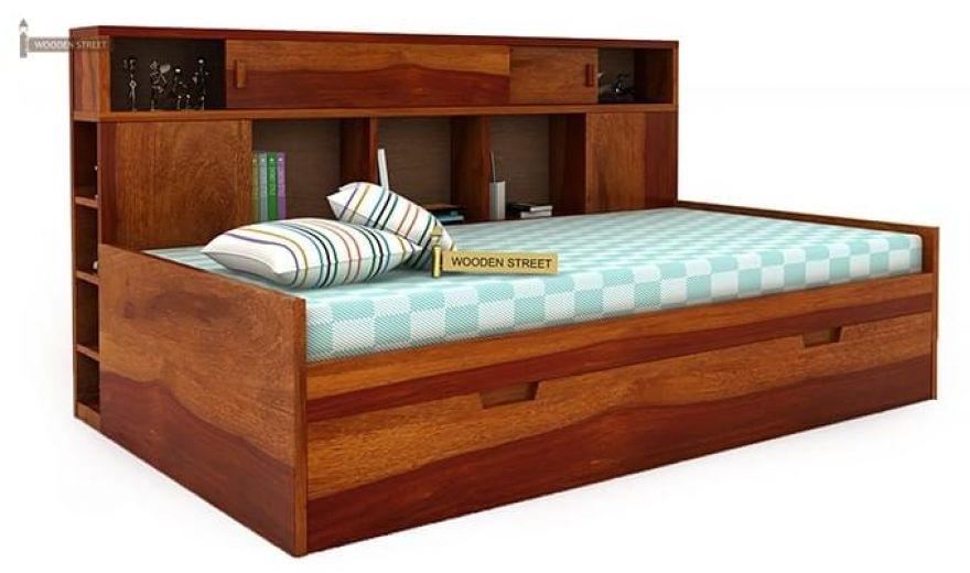 Adeline Sofa Cum Bed (Honey Finish)-2