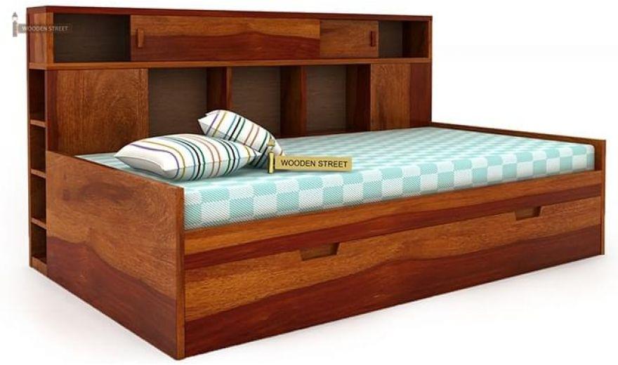 Adeline Sofa Cum Bed (Honey Finish)-4
