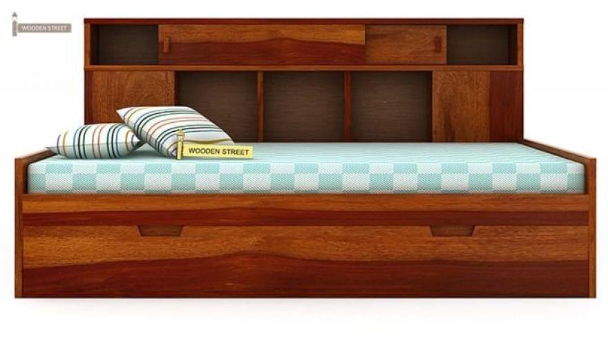 Adeline Sofa Cum Bed (Honey Finish)-5