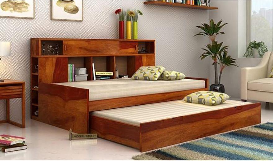 Adeline Sofa Cum Bed (Honey Finish)-1