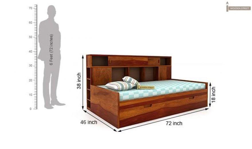 Adeline Sofa Cum Bed (Honey Finish)-9