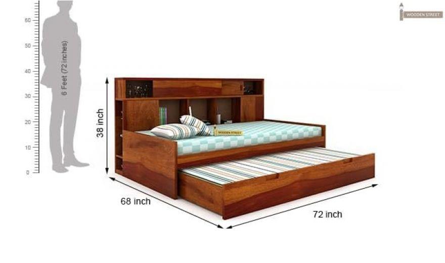 Adeline Sofa Cum Bed (Honey Finish)-10