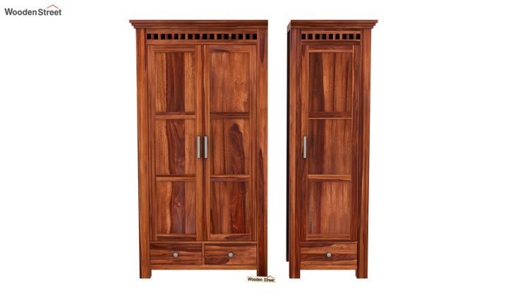 Adolph 3 Door Multi-Utility Wardrobe (Honey Finish)-5