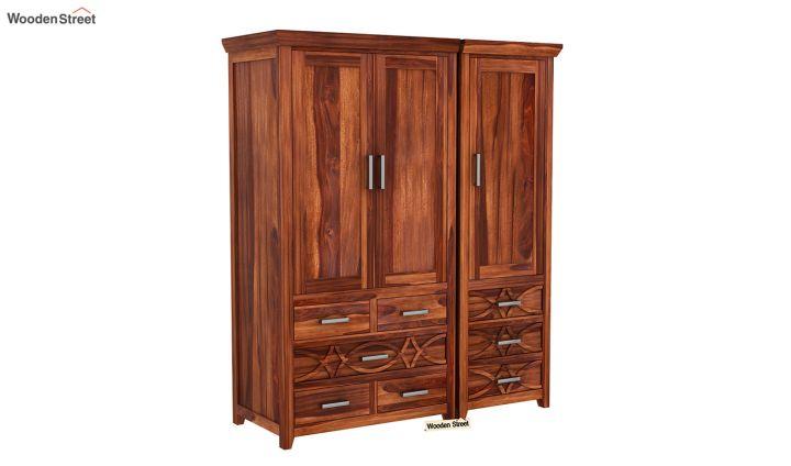 Allan 3 Door Multi-Utility Wardrobe (Honey Finish)-3