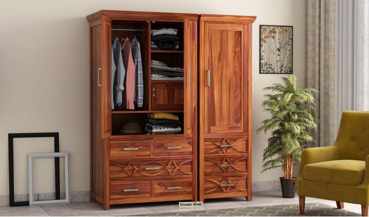 Allan 3 Door Multi-Utility Wardrobe (Honey Finish)-1