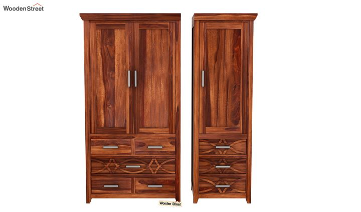 Allan 3 Door Multi-Utility Wardrobe (Honey Finish)-5