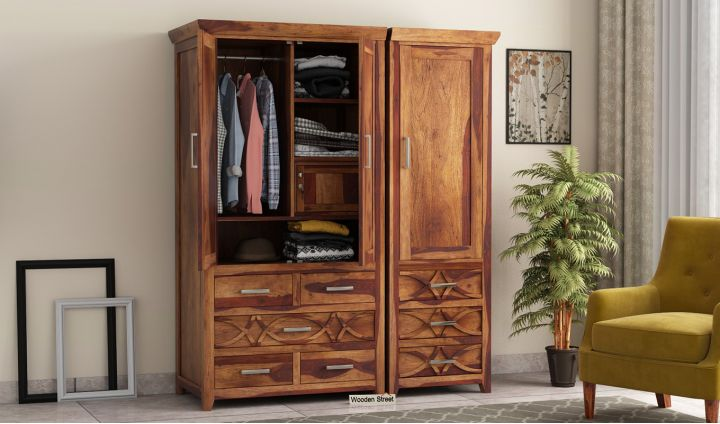 Allan 3 Door Multi-Utility Wardrobe (Teak Finish)-1
