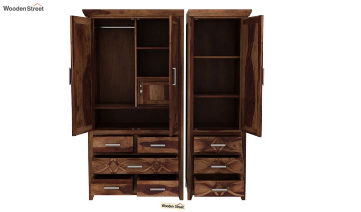 Allan 3 Door Multi-Utility Wardrobe (Teak Finish)-7