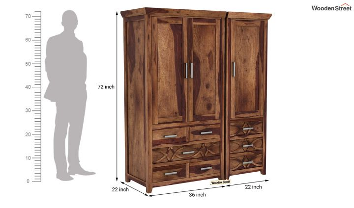 Allan 3 Door Multi-Utility Wardrobe (Teak Finish)-10