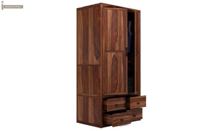 Carvel Multi-Utility Wardrobe (Teak Finish)-5
