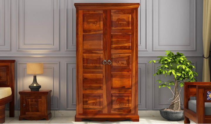 Emboss Multi Utility Wardrobe (Honey Finish)-2
