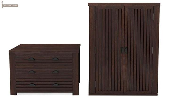 Felner Multi Utility Wardrobe (Walnut Finish)-5