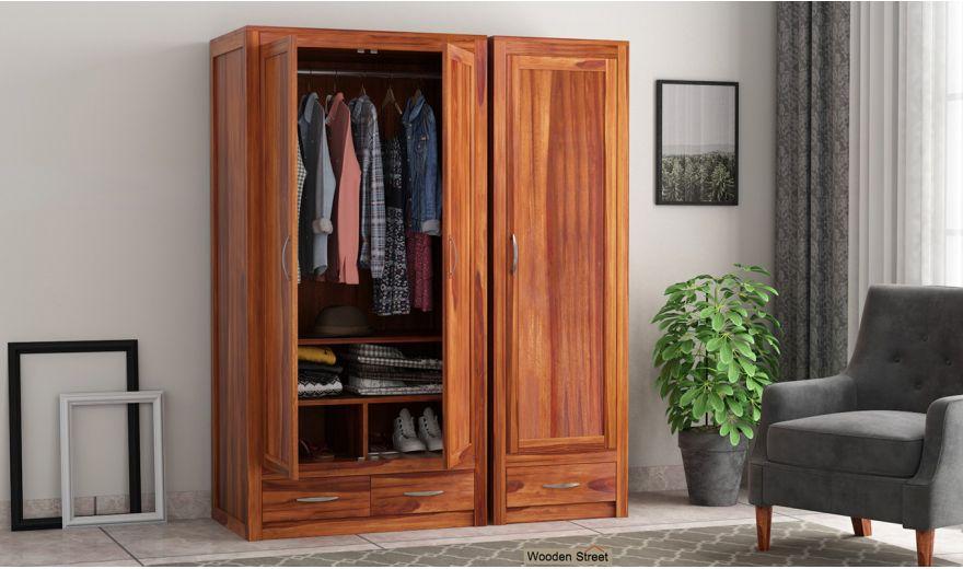 Holden 3 Door Multi Utility Wardrobe (Honey Finish)-2