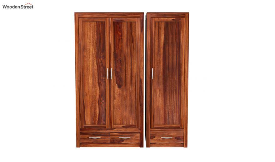 Holden 3 Door Multi Utility Wardrobe (Honey Finish)-6