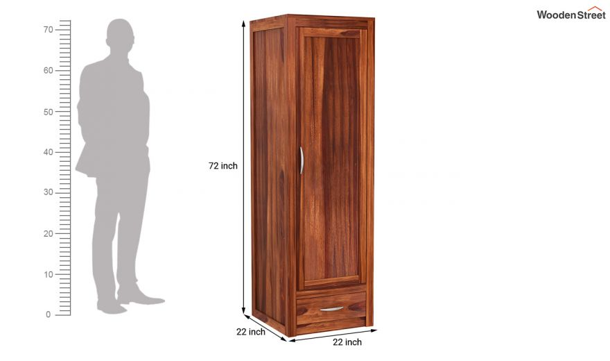 Holden 3 Door Multi Utility Wardrobe (Honey Finish)-8