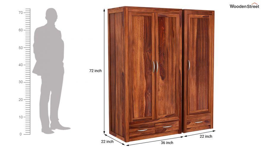 Holden 3 Door Multi Utility Wardrobe (Honey Finish)-10