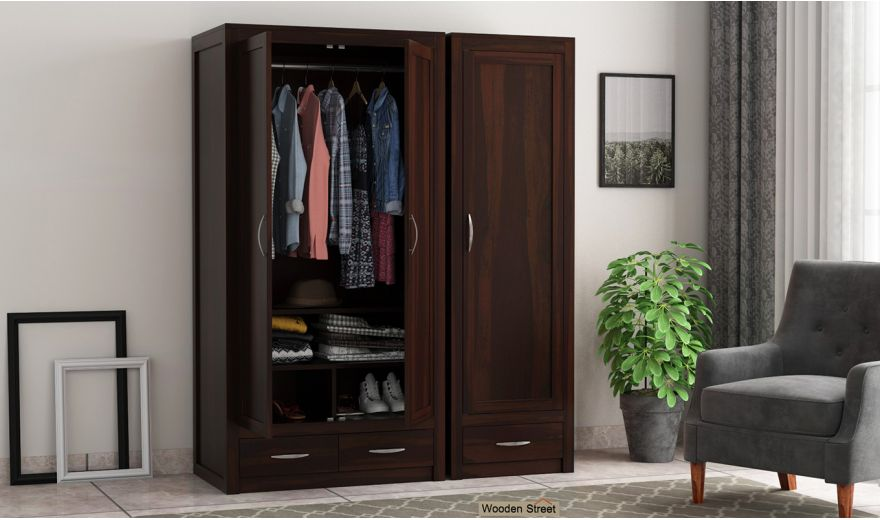 Holden 3 Door Multi Utility Wardrobe (Walnut Finish)-2