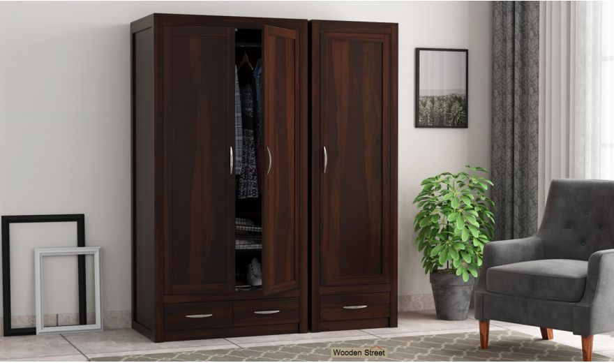 Holden 3 Door Multi Utility Wardrobe (Walnut Finish)-1