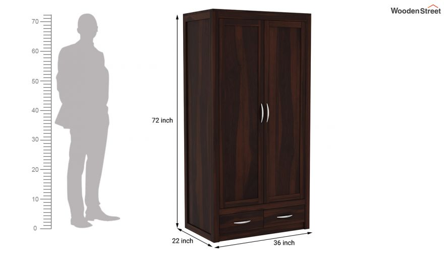 Holden 3 Door Multi Utility Wardrobe (Walnut Finish)-9
