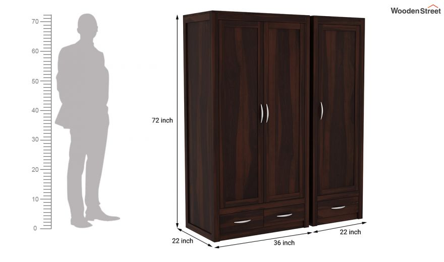 Holden 3 Door Multi Utility Wardrobe (Walnut Finish)-10