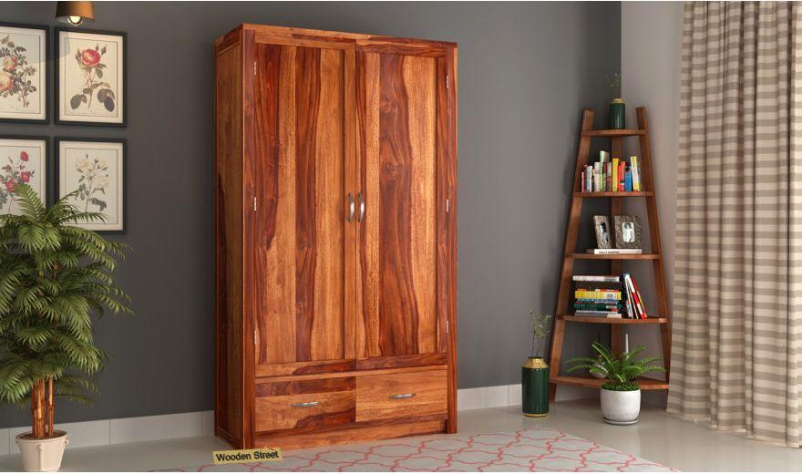 Holden 2 Door Multi Utility Wardrobe (Honey Finish)-1