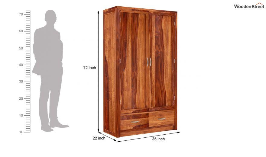 Holden 2 Door Multi Utility Wardrobe (Honey Finish)-5