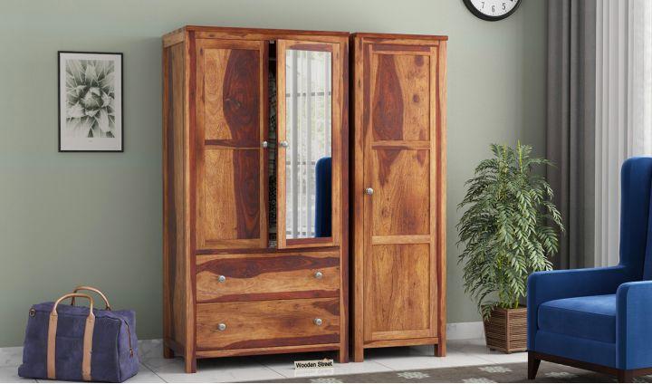Zed 3 Door Multi-Utility Wardrobe with Mirror (Teak Finish)-1