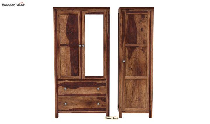 Zed 3 Door Multi-Utility Wardrobe with Mirror (Teak Finish)-5