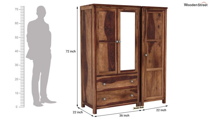 Zed 3 Door Multi-Utility Wardrobe with Mirror (Teak Finish)-8