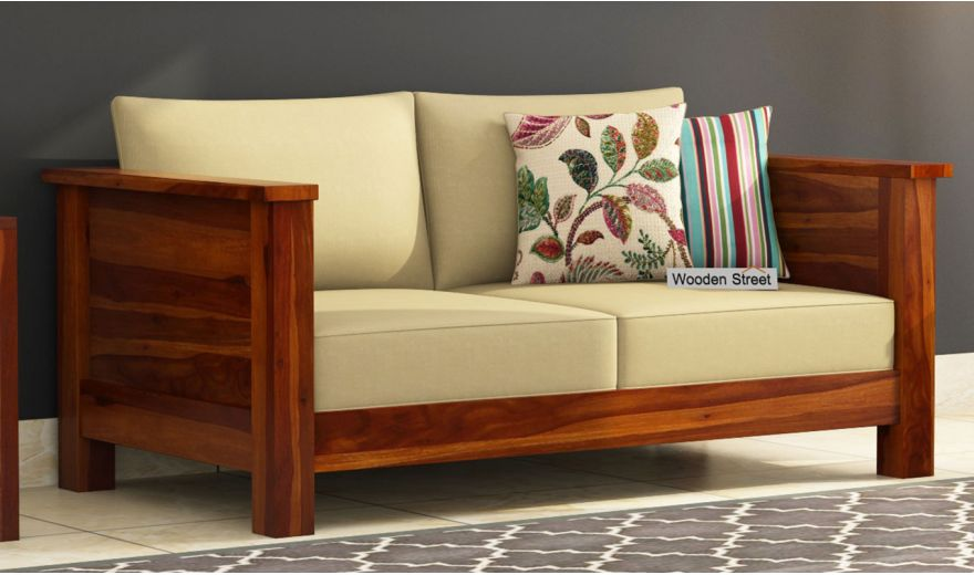 Agnes 2 Seater Wooden Sofa (Honey Finish)-1