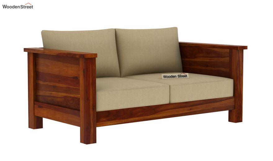 Agnes 2 Seater Wooden Sofa (Honey Finish)-2
