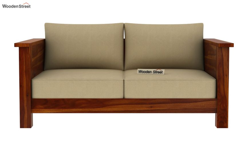Agnes 2 Seater Wooden Sofa (Honey Finish)-3