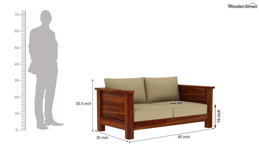 Agnes 2 Seater Wooden Sofa (Honey Finish)-4