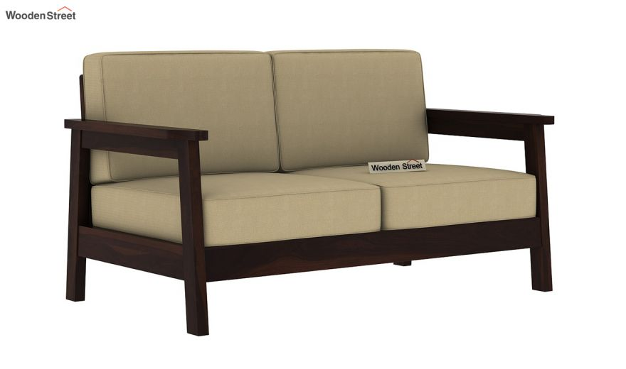 Conan 2 Seater Wooden Sofa (Walnut Finish)-2