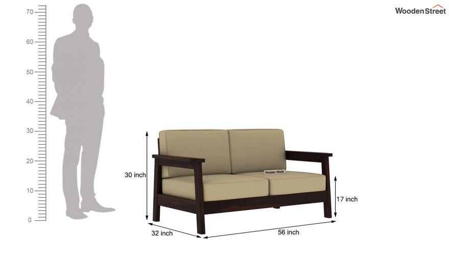 Conan 2 Seater Wooden Sofa (Walnut Finish)-4