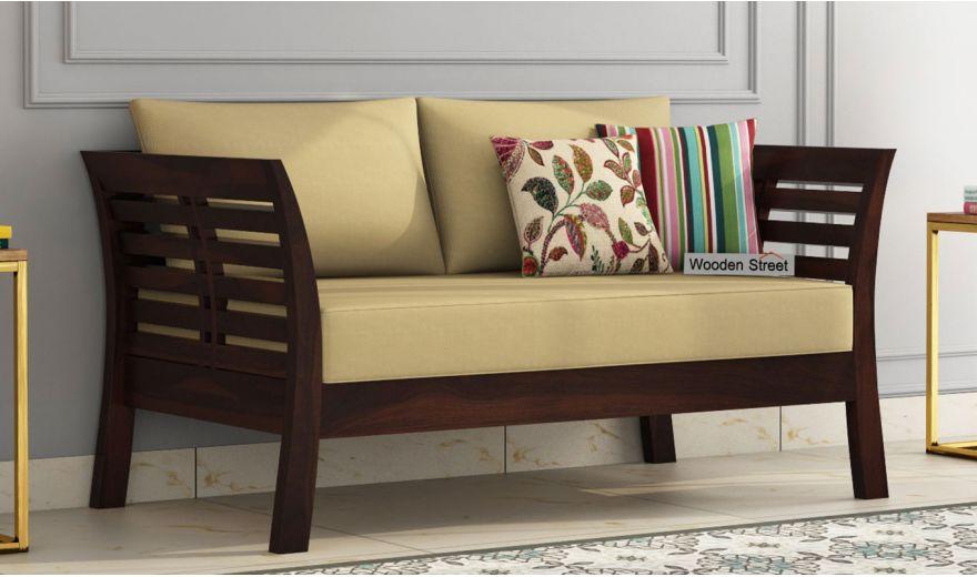 Darwin 2 Seater Wooden Sofa (Walnut Finish)-1