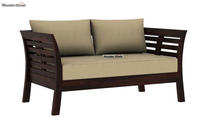 Darwin 2 Seater Wooden Sofa (Walnut Finish)-2