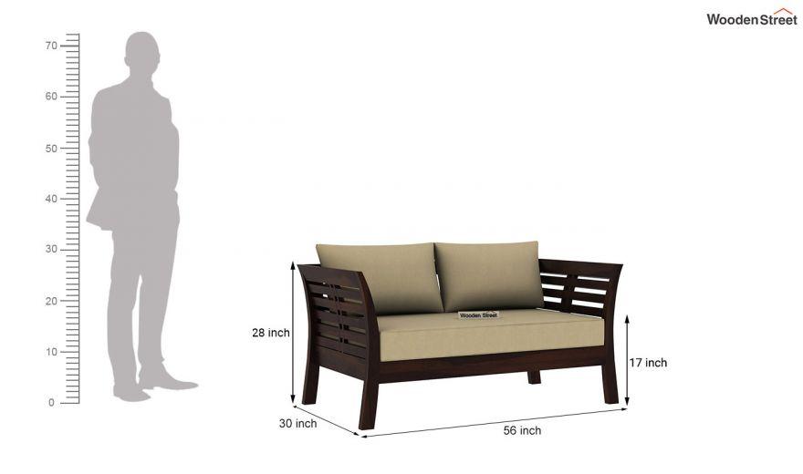 Darwin 2 Seater Wooden Sofa (Walnut Finish)-4