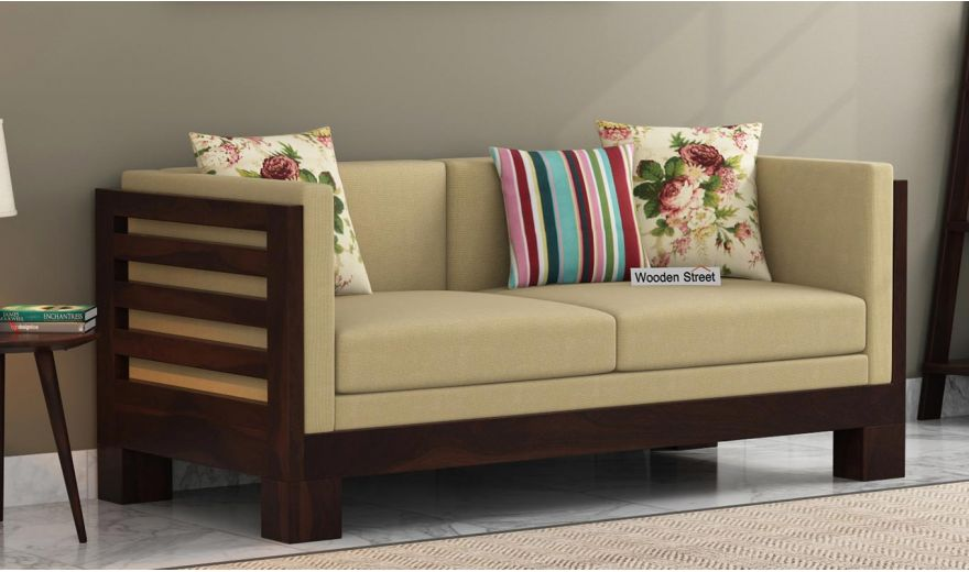 Hizen 2 Seater Wooden Sofa (Walnut Finish)-1