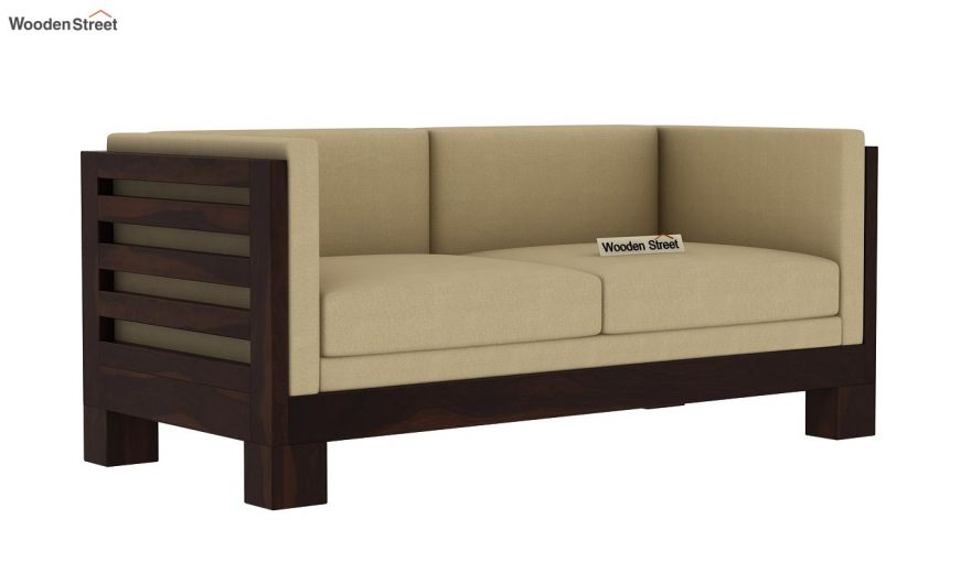 Hizen 2 Seater Wooden Sofa (Walnut Finish)-2