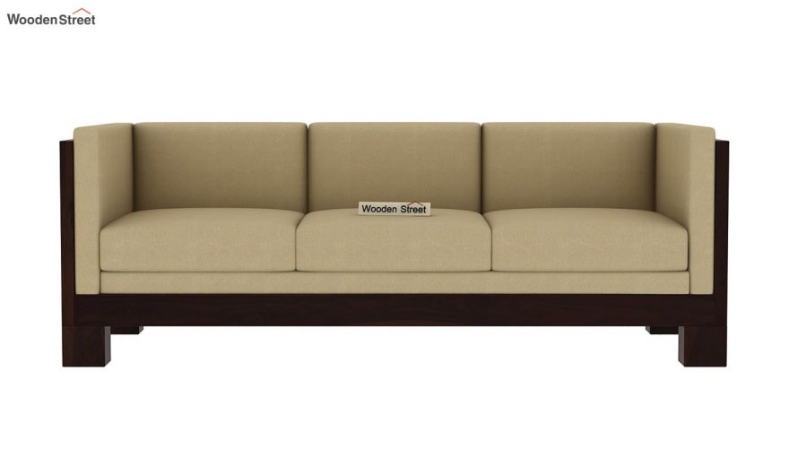 Hizen 3 Seater Wooden Sofa (Walnut Finish)-3