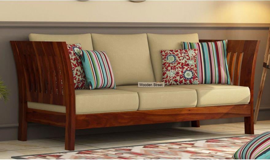 Raiden 3 Seater Wooden Sofa (Honey Finish)-1